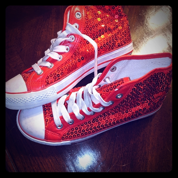 Shoes | Red Sequin Womens Hightop